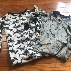 Two Baby Gap One-piece Sharks Pajamas 3T